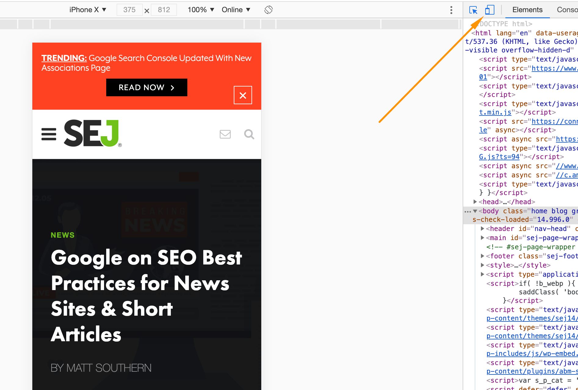Load a mobile view in the Chrome inspection tool and then use the View Rendered Source extension